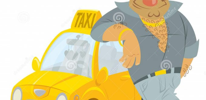 cartoon-taxi-driver-funny-character-his-yellow-cab-humorous-car-35049167